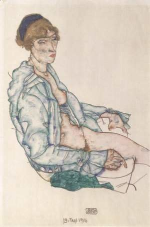 Egon Schiele - Seated Woman with blue hair band
