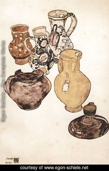 Egon Schiele - Earthenware tableware