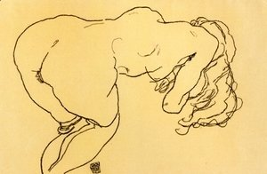 Egon Schiele - Long haired nude, bent over forward, jerk view
