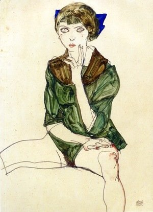Egon Schiele - Sitting Woman in a Green Blouse