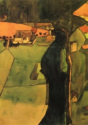 Egon Schiele - Town on the Blue River
