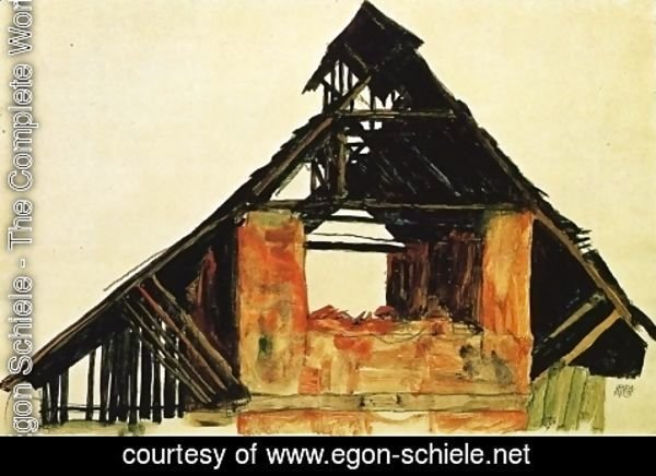 Egon Schiele - Old Brick House in Carinthia