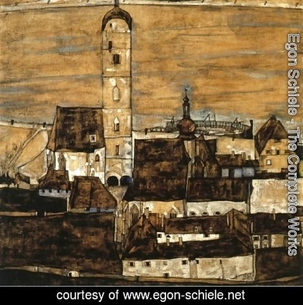 Egon Schiele - Stein on the Danube, Seen from the Kreuzberg