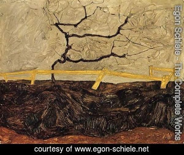 Egon Schiele - Bare Tree Behind A Fence