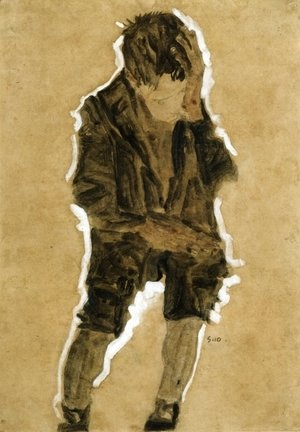 Egon Schiele - Boy With Hand To Face