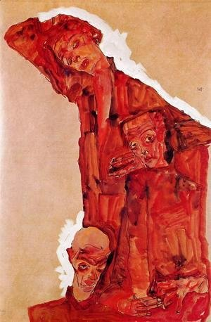 Egon Schiele - Composition With Three Male Figures Aka Self Portrait