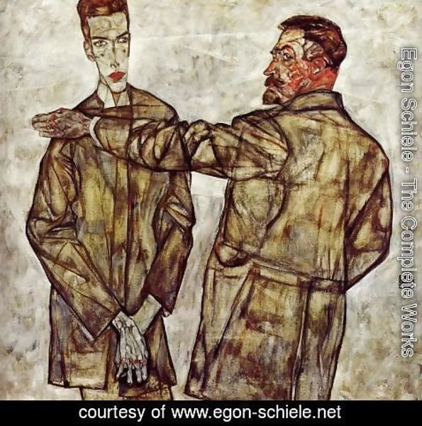 Egon Schiele - Double Portrait Aka Chief Inspector Heinrich Benesch And His Son Otto