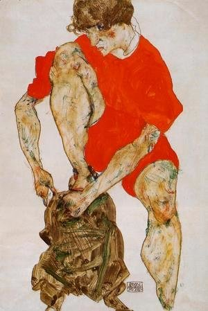 Egon Schiele - Female Model In Bright Red Jacket And Pants