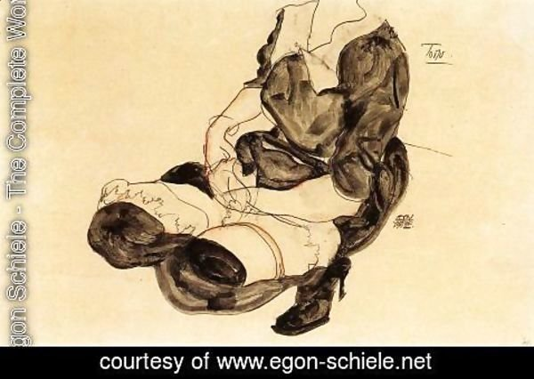 Egon Schiele - Female Torso  Squatting