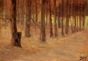 Egon Schiele - Forest With Sunlit Clearing In The Background