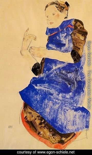 Egon Schiele - Girl In A Blue Apron