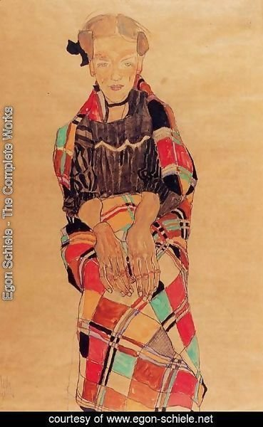 Egon Schiele - Girl In Black Pinafore  Wrapped In Plaid Blanket