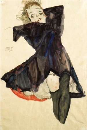 Egon Schiele - Girl In Blue Dress