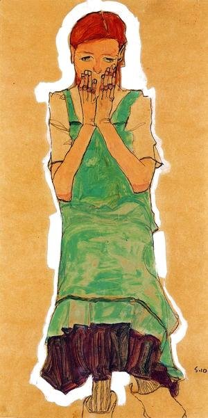 Egon Schiele - Girl With Green Pinafore