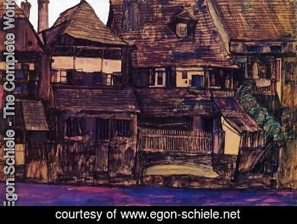 Egon Schiele - Houses On The Moldau  Krumau