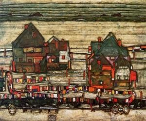 Egon Schiele - Houses With Laundry Aka Seeburg II