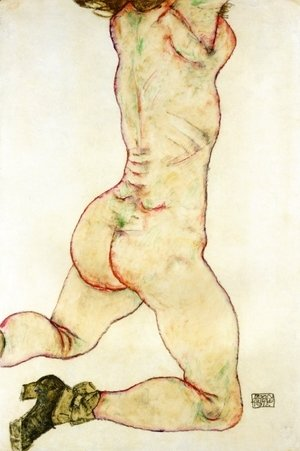 Egon Schiele - Kneeling Female Nude  Back View