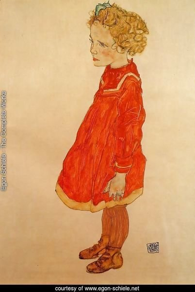 Little Girl With Blond Hair In A Red Dress