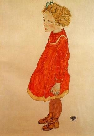 Egon Schiele - Little Girl With Blond Hair In A Red Dress