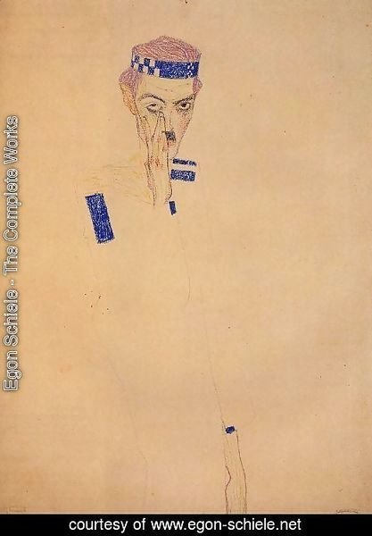 Egon Schiele - Man With Blue Headband And Hand On Cheek