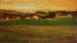 Egon Schiele - Meadow With Village In Background II