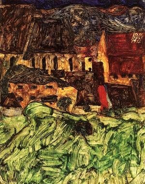 Egon Schiele - Meadow  Church And Houses