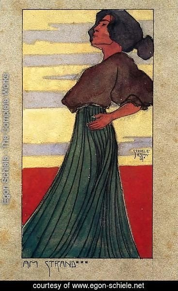 Egon Schiele - On The Beach   Moonlight