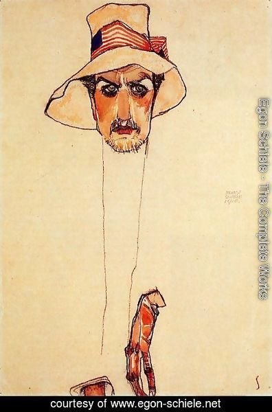 Egon Schiele - Portrait Of A Man With A Floppy Hat Aka Portrait Of Erwin Dominilk Osen