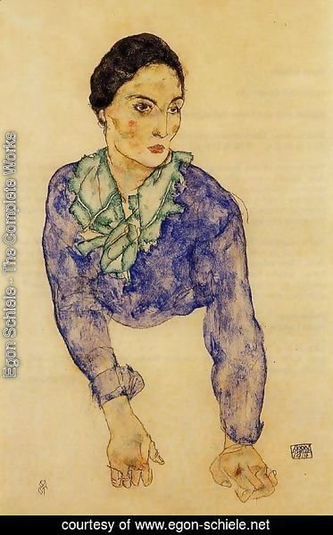 Egon Schiele - Portrait Of A Woman With Blue And Green Scarf