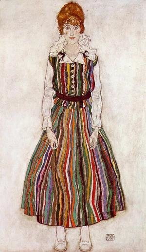 Egon Schiele - Portrait Of Edith Schiele In A Striped Dress