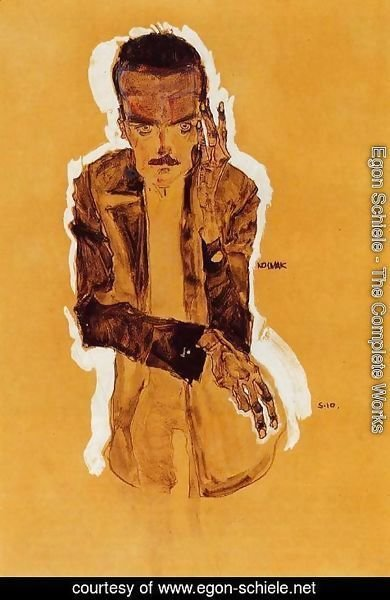 Egon Schiele - Portrait Of Eduard Kismack With Raised Left Hand