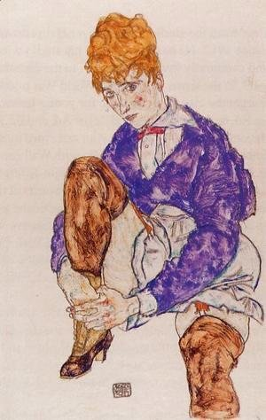 Egon Schiele - Portrait Of The Artists Wife Seated  Holding Her Right Leg