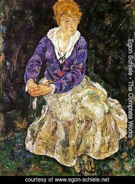 Egon Schiele - Portrait Of The Artists Wife  Seated