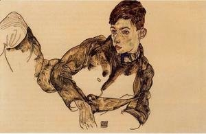 Egon Schiele - Reclining Boy Leaning On His Elbow