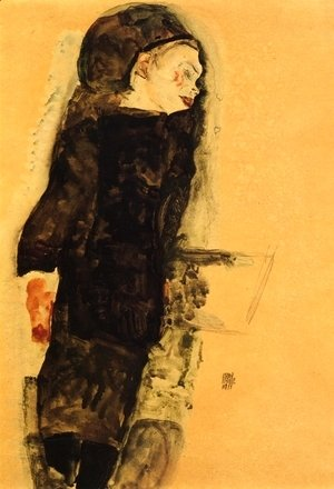 Egon Schiele - Reclining Girl  With Round Head