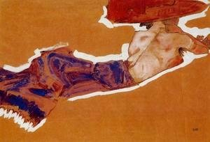 Egon Schiele - Reclining Semi Nude With Red Hat