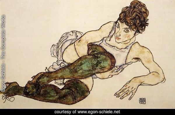 Reclining Woman With Green Stockings Aka Adele Harms