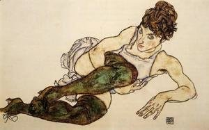 Egon Schiele - Reclining Woman With Green Stockings Aka Adele Harms