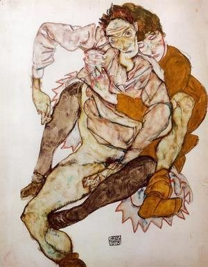 Egon Schiele - Seated Couple Aka Egon And Edith Schiele