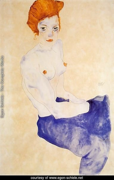 Seated Girl With Bare Torso And Light Blue Skirt