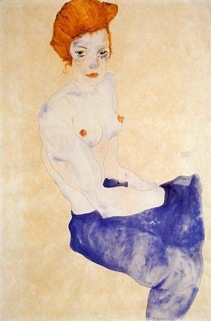 Egon Schiele - Seated Girl With Bare Torso And Light Blue Skirt