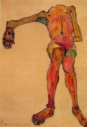 Egon Schiele - Seated Male Nude  Right Hand Outstretched