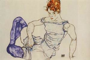Egon Schiele - Seated Woman In Violet Stockings