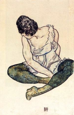 Egon Schiele - Seated Woman With Green Stockings