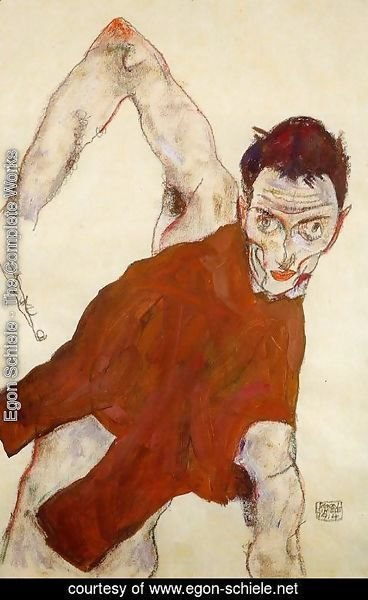 Egon Schiele - Self Portrait In Jerkin With Right Elbow Raised