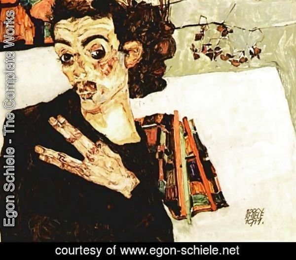 Egon Schiele - Self Portrait With Black Vase And Spread Fingers