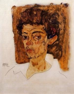 Egon Schiele - Self Portrait With Brown Background