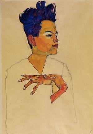 Egon Schiele - Self Portrait With Hands On Chest