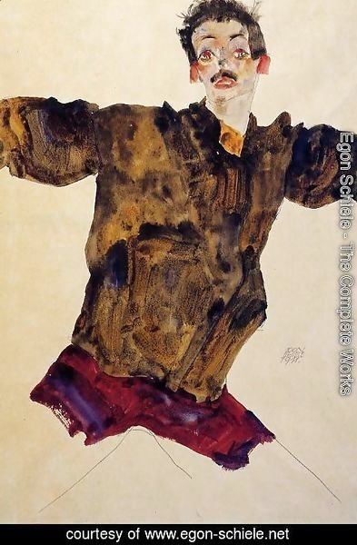 Egon Schiele - Self Portrait With Outstretched Arms