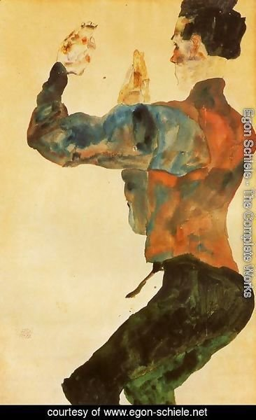 Egon Schiele - Self Portrait With Raised Arms  Back View